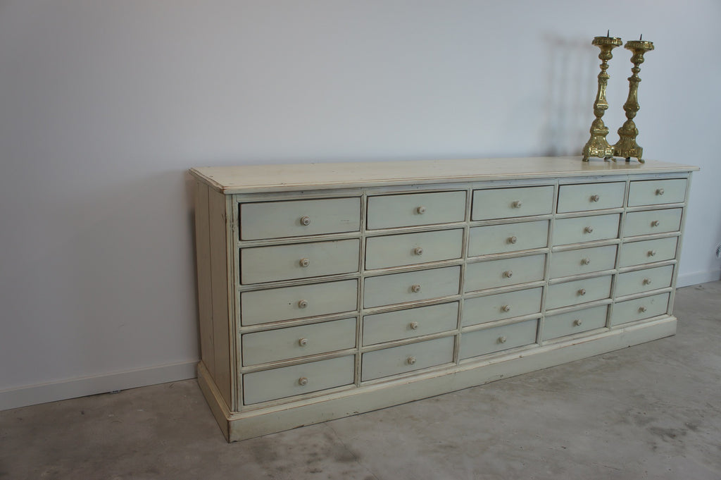 Chestnut Wood Painted White Shop Counter Sideboard from 1930