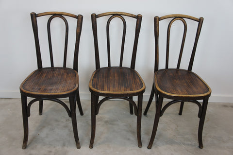 Set of 3 Fischel Dark Bentwood Bistro Chairs