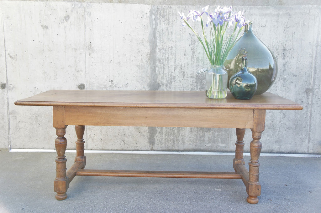 Extendable Walnut Wood Farmhouse Refectory Dining Table