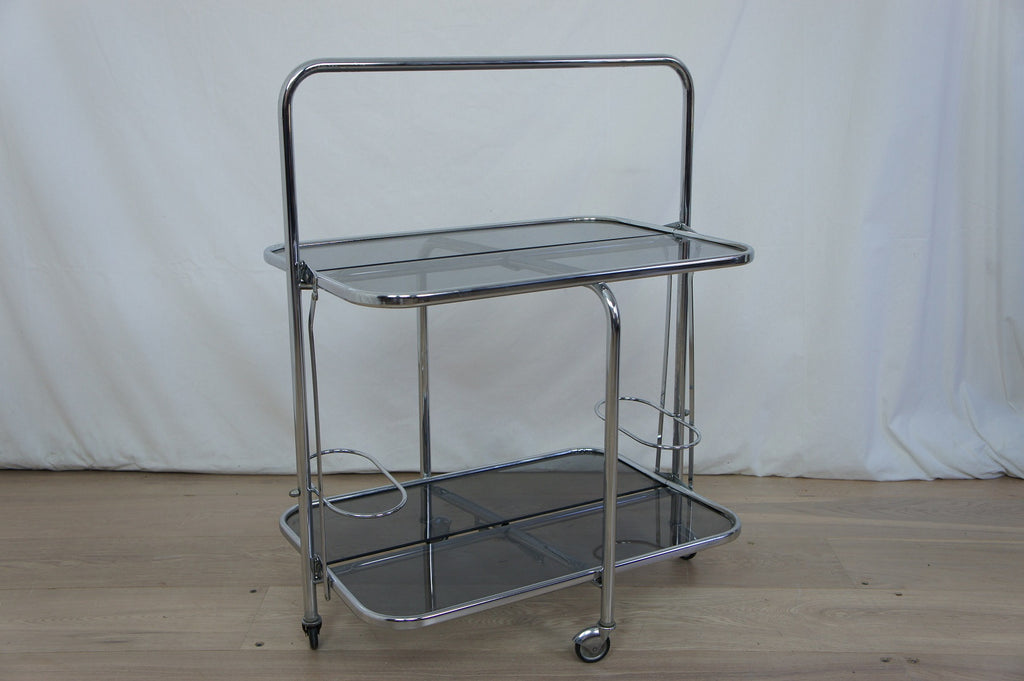 Chrome, Smoked Glass and Mirror Drinks Trolley