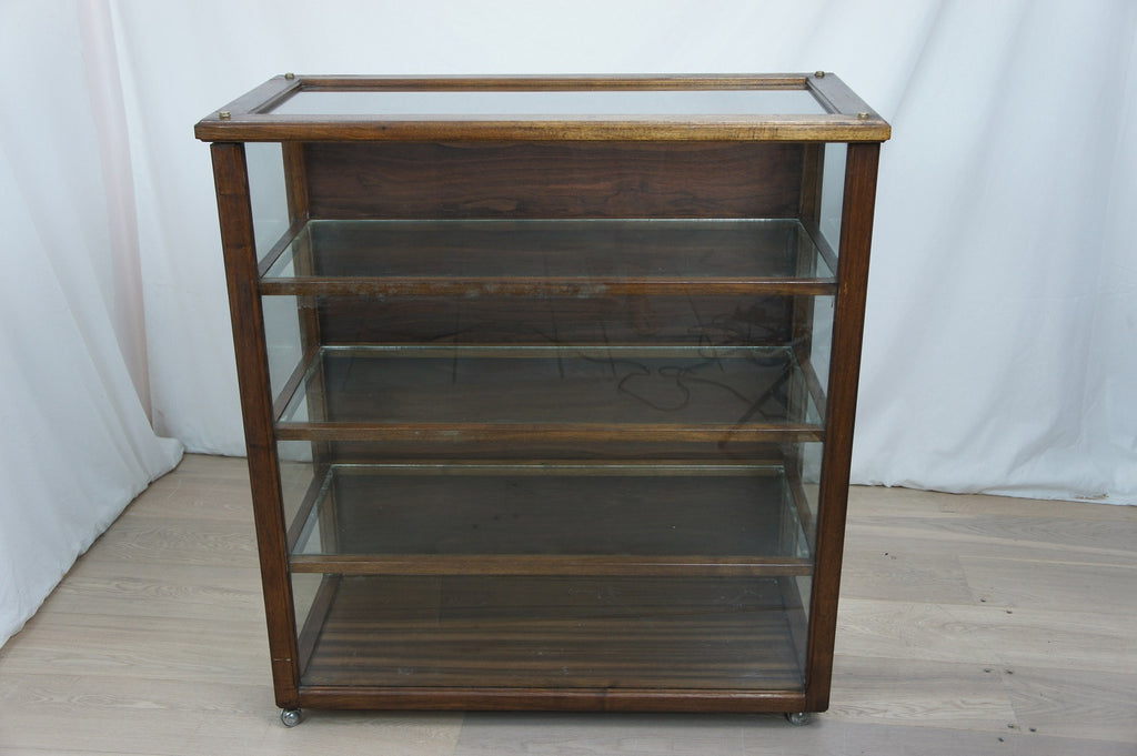 Mid Century Walnut Shop Display Cabinet