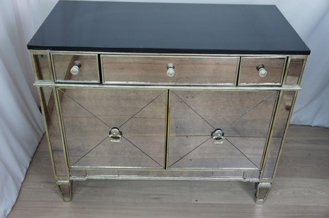 Antique Mirrored Cupboard Bedside Table