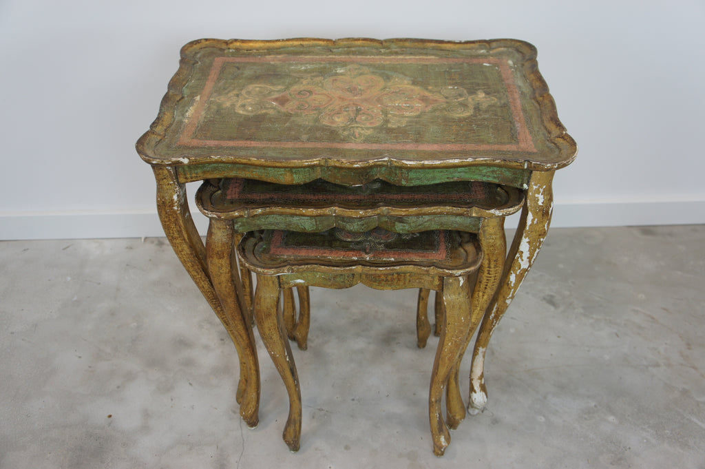 Nest of 3 Papier Mache Hand Painted and Gilded Tables