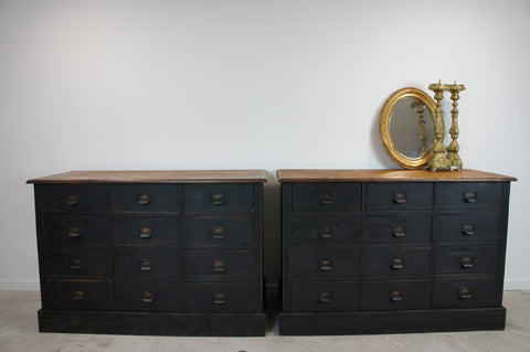 Pair Black Hardware Store Drawers Sideboard