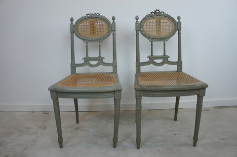 Pair Shabby Chic Carved Cane Bedroom Chairs