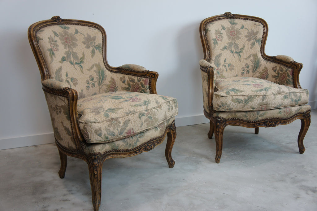 Pair French Crapaud Style Armchairs Chairs