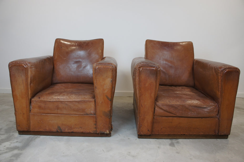 leather club chairs vintage. pair art deco leather club chairs vintage