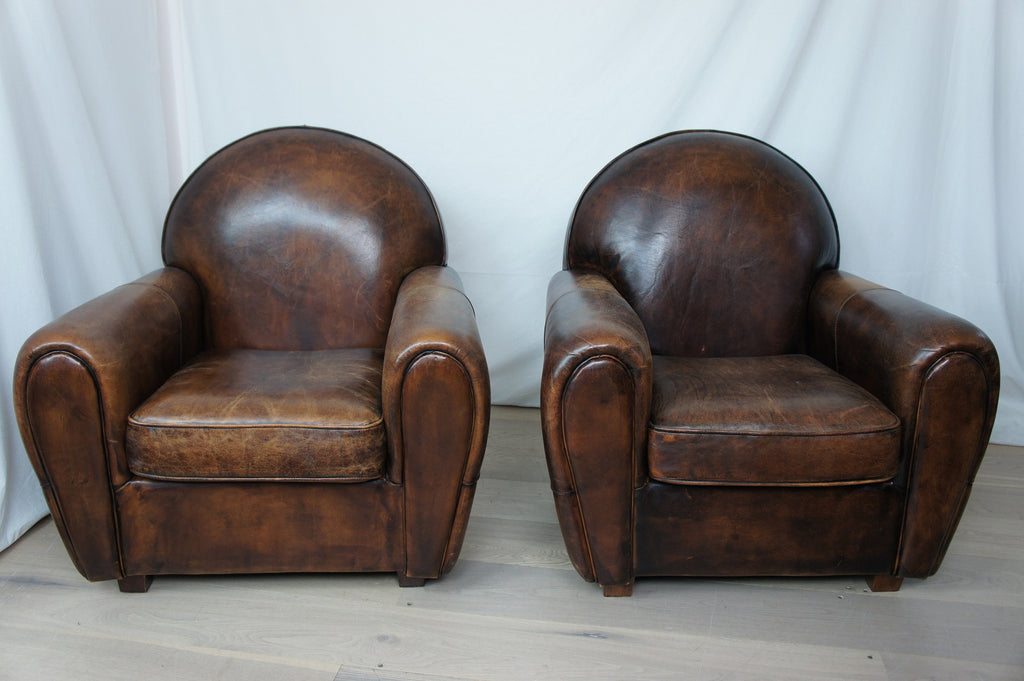 vintage leather club chairs. Pair Vintage Leather Club Chairs