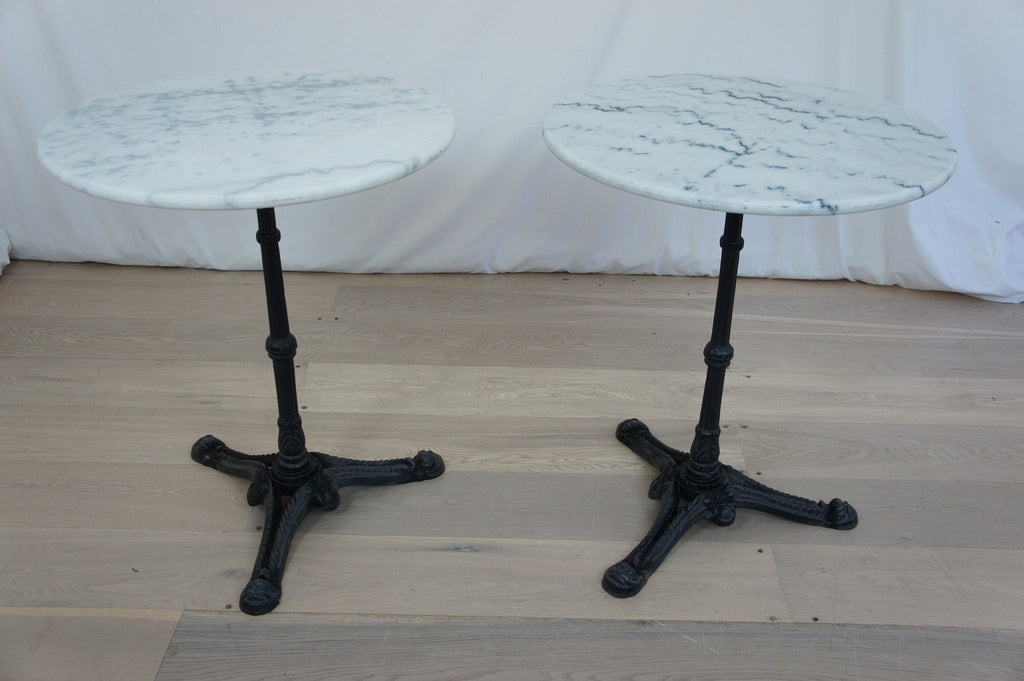 Pair Cast Iron And Marble Bistro Tables