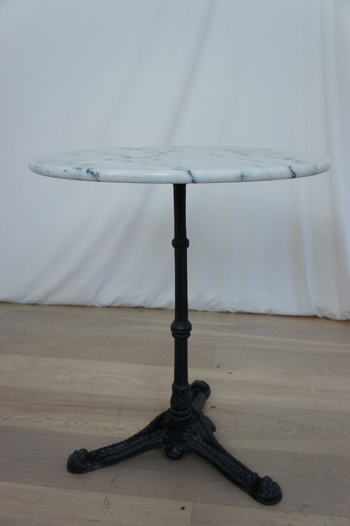 Pair Cast Iron and Marble Bistro Tables – Vintage French