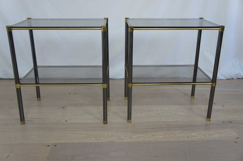 Pair of Mid Century Metal and Smoked Glass Sofa Tables