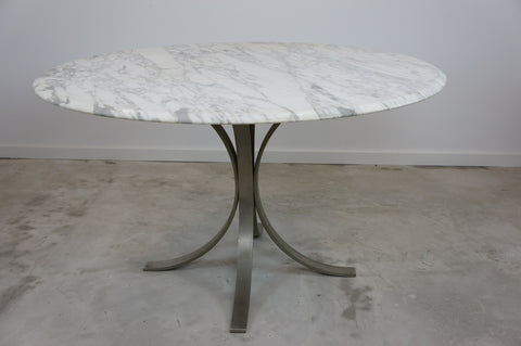 1960's Knoll Roger Sprunger Style Marble Top Metal Leg Circular Dining Table