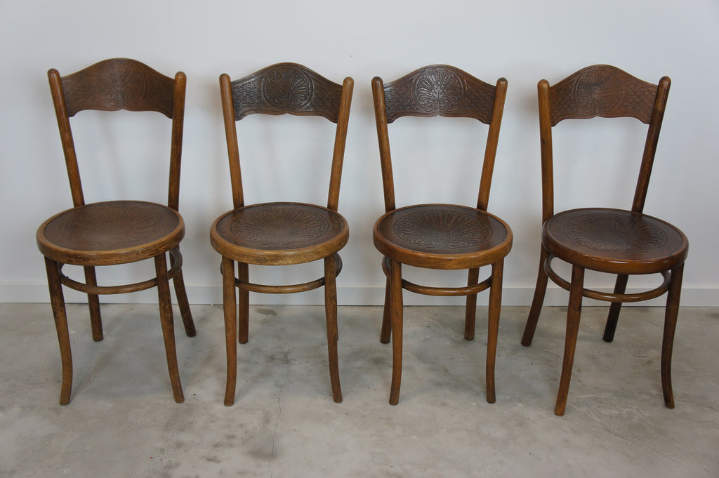 Set of 4 Embossed Decorative French Bistro Chairs Marked J&J Kohn Austria