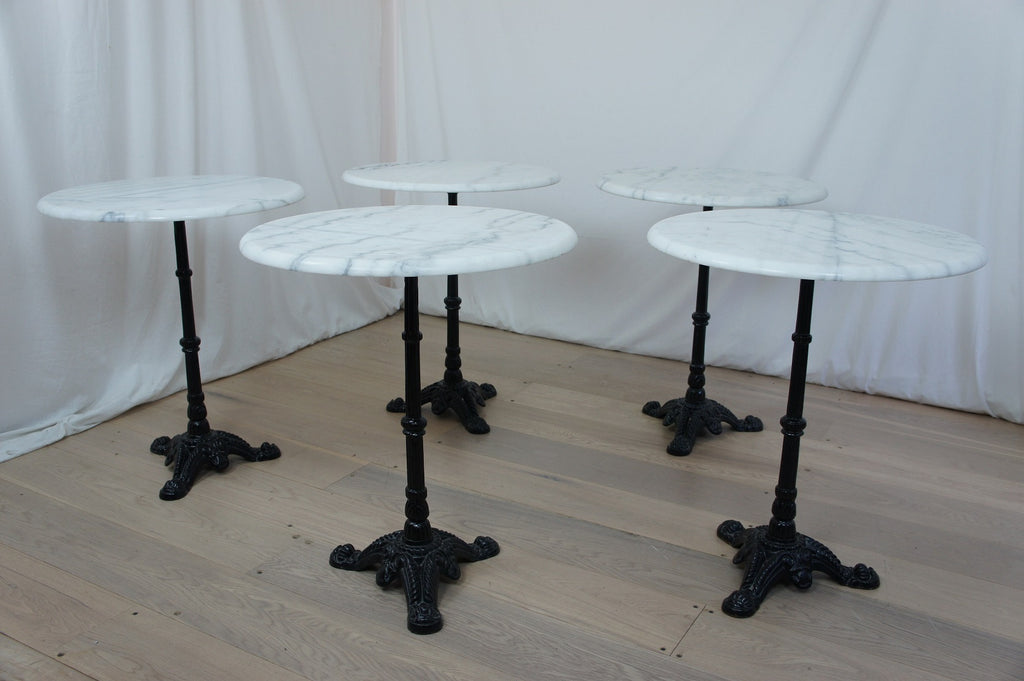 Set of 5 Cast Iron and Marble Bistro Tables