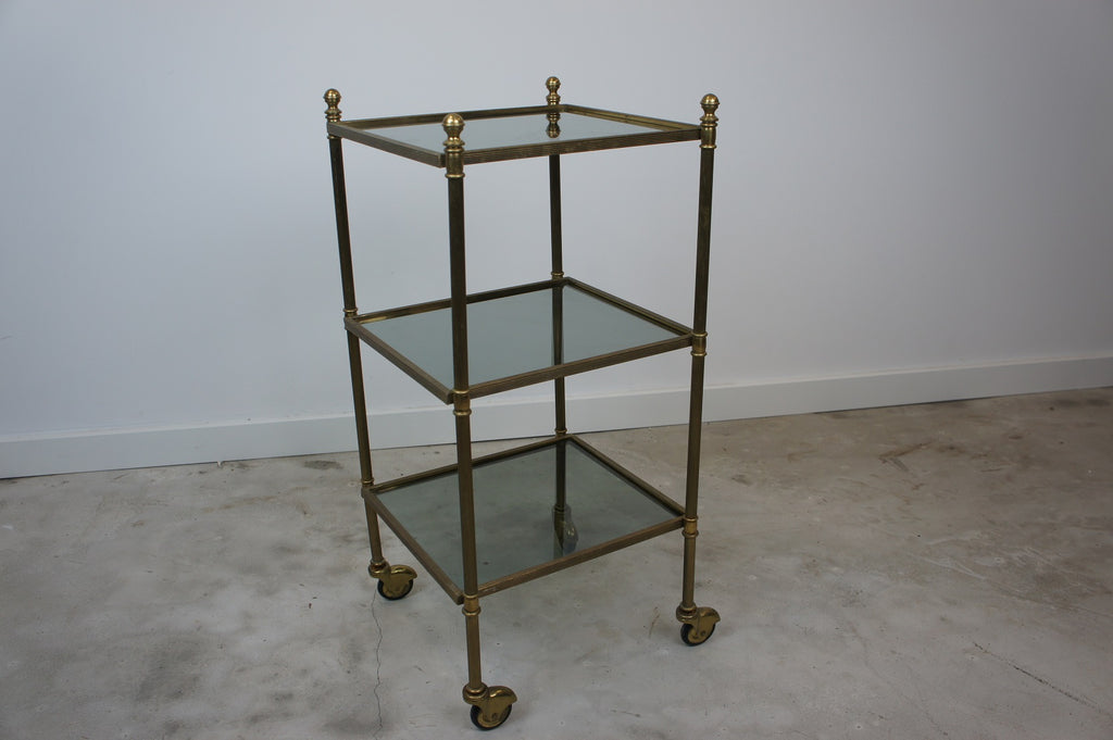 Mid Century Brass and Glass Drinks Trolley