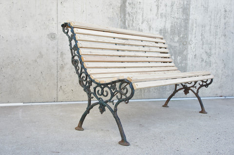 Cast Iron and Wood Decorative Garden Bench