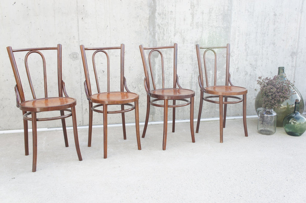 Set of 4 Mid Century Bentwood French Bistro Chairs