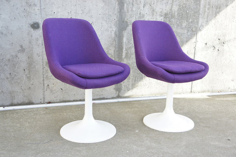 Pair Mid Century Purple Swivel Chairs