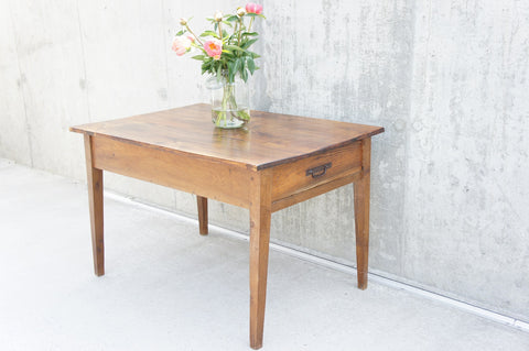 120.75cm Farmhouse Walnut Wood Tapered Leg Dining Table Desk