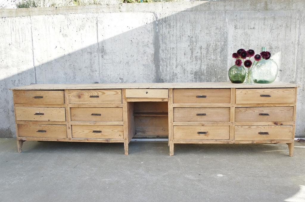 1800's Shop Counter Sideboard Drawers