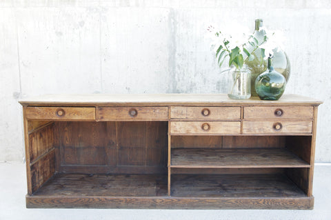 1920's Oak Boulangerie Shop Counter Sideboard Open Shelves and Drawers