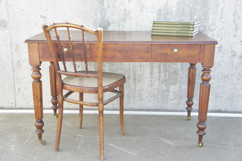 19th Century French Turned Leg Table / Desk
