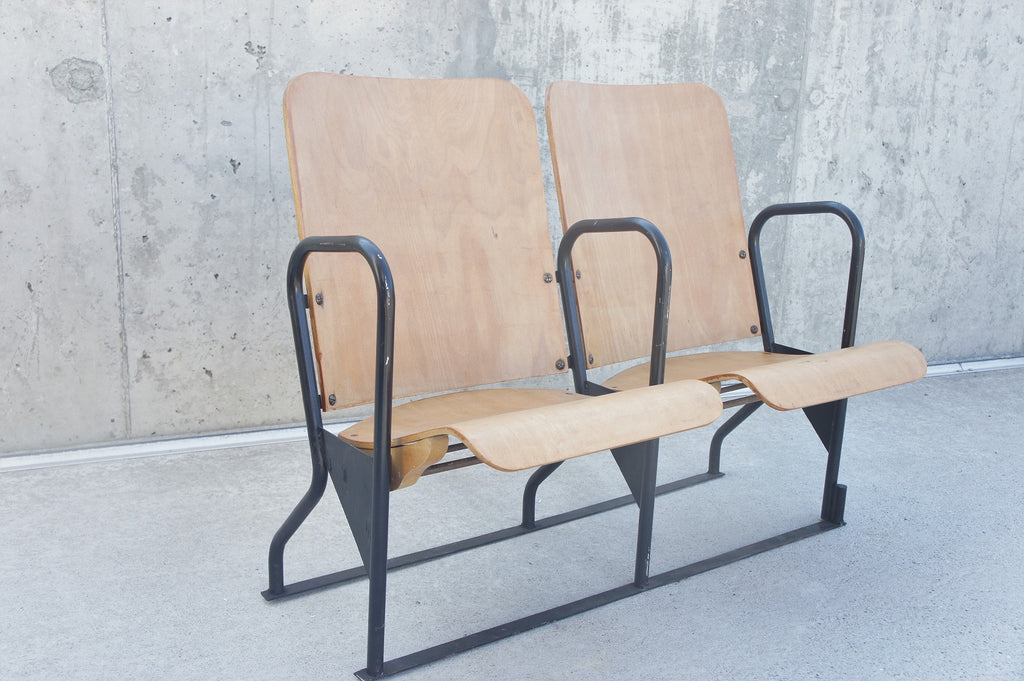 Mid Century Century Two Seat Metal and Wood Cinema/Conference Seats