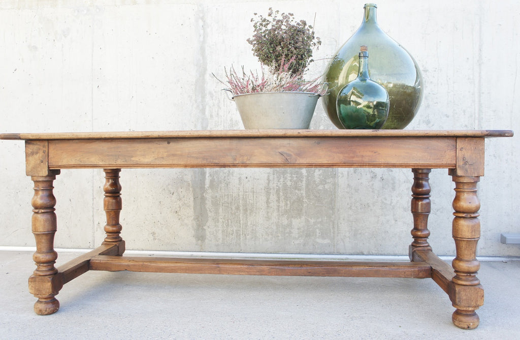 200cm Oak Turned Legs French Farmhouse Dining Table