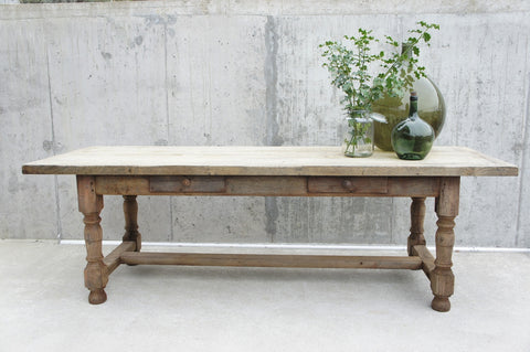 2.48m Rustic Oak Farmhouse Refectory Dining Table