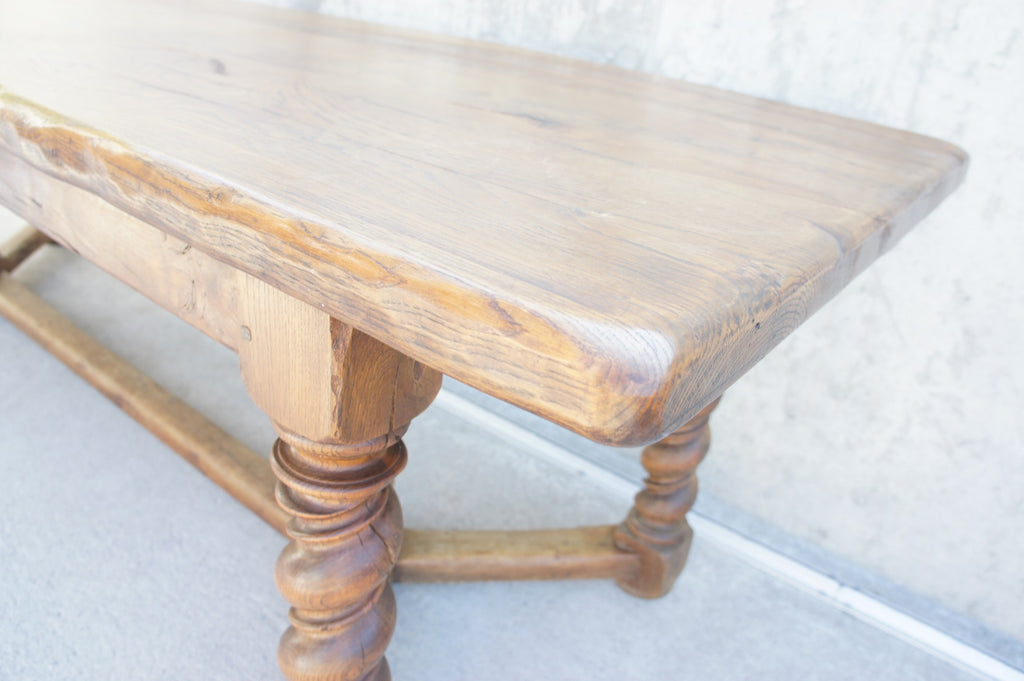 251cm Oak Farmhouse Refectory Six Turned Legs Dining Table