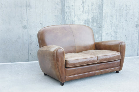 Leather Club 2 Seat Sofa