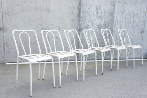 Set of 6 White Tolix Metal Chairs