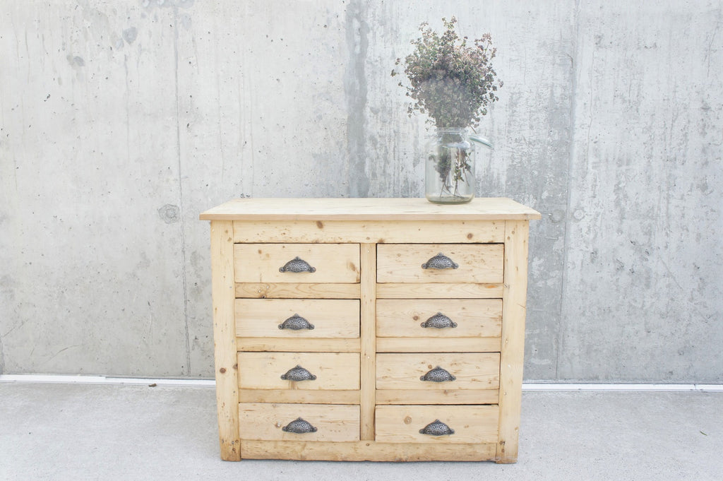 Rustic Pine Hardware Store Counter Sideboard 8 Chest of Drawers Industrial Kitchen Island