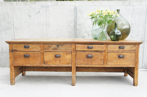8 Drawer Solid Pine Paneled Back Shop Counter Sideboard Drawers