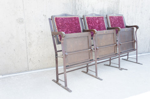 19th Century Velvet Metal and Wooden Cinema Seats
