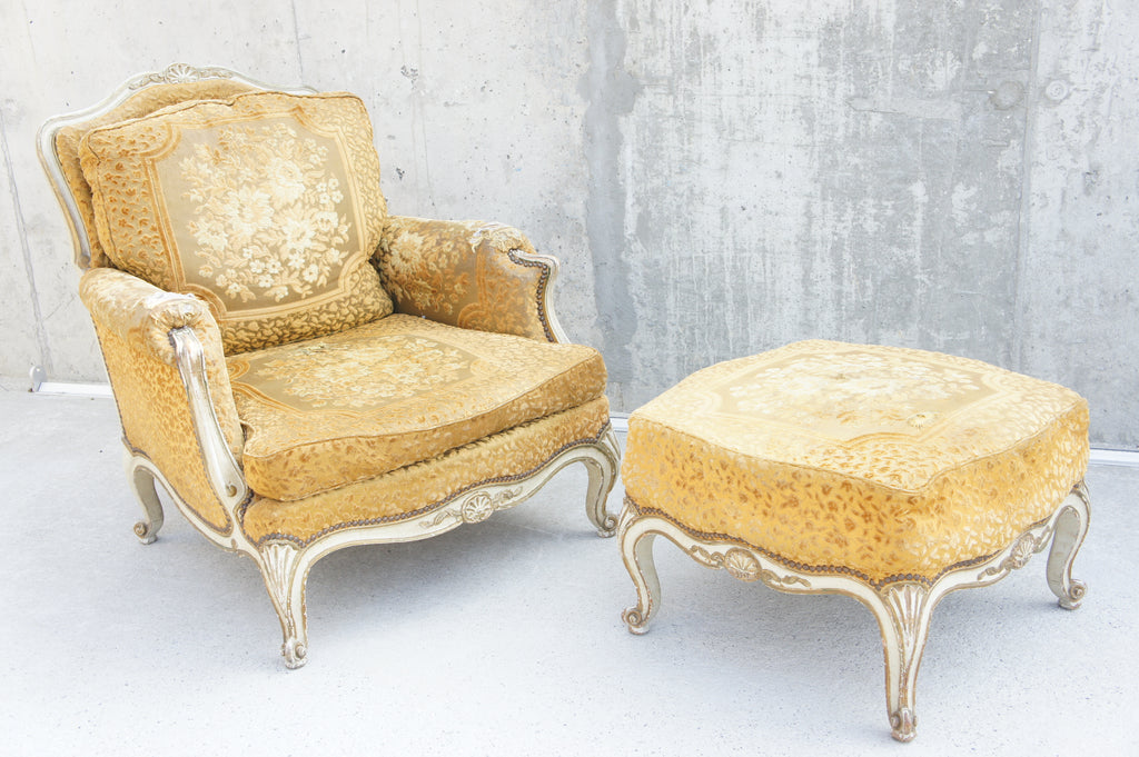 Baroque Style Armchair and Footstool to reupholster ...