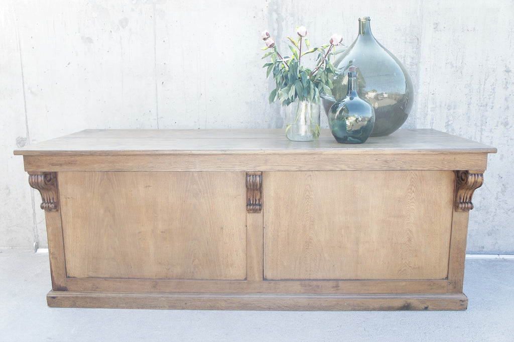 Oak  Double Sided Boulangerie Shop Counter Sideboard Open Shelves and Drawers