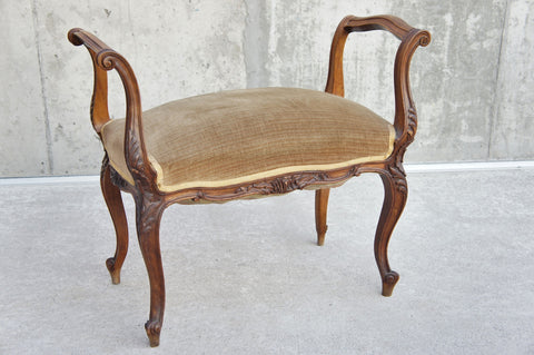 Carved Wood and Velvet Upholstered Stool