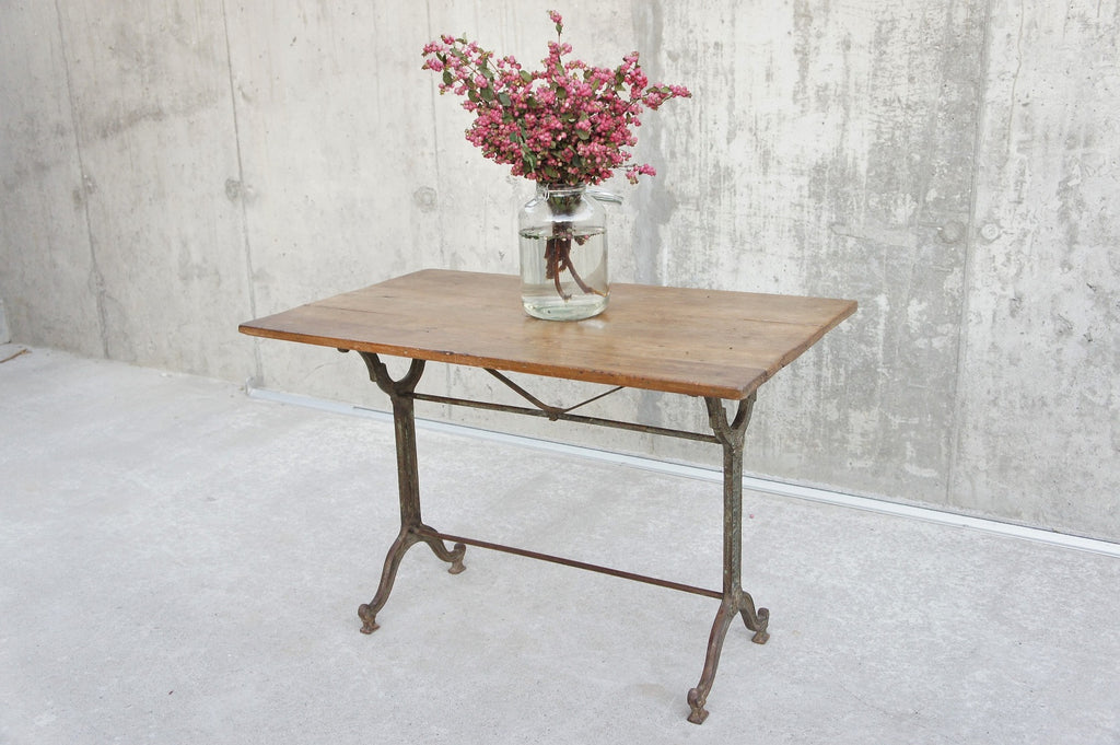 Cast Iron and Wooden Bistro Table