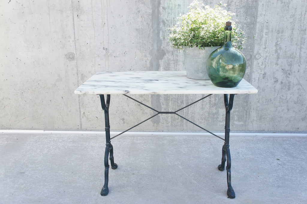 Marble and Wrought Iron Kitchen Bistro Table