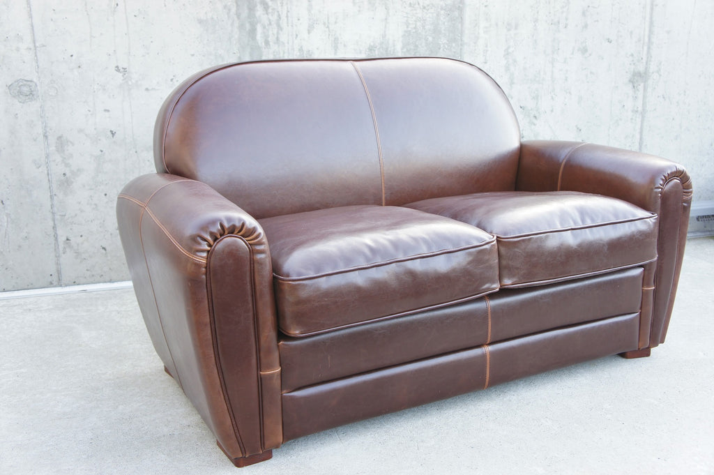 Chocolate Leather Club 2 Seat Sofa