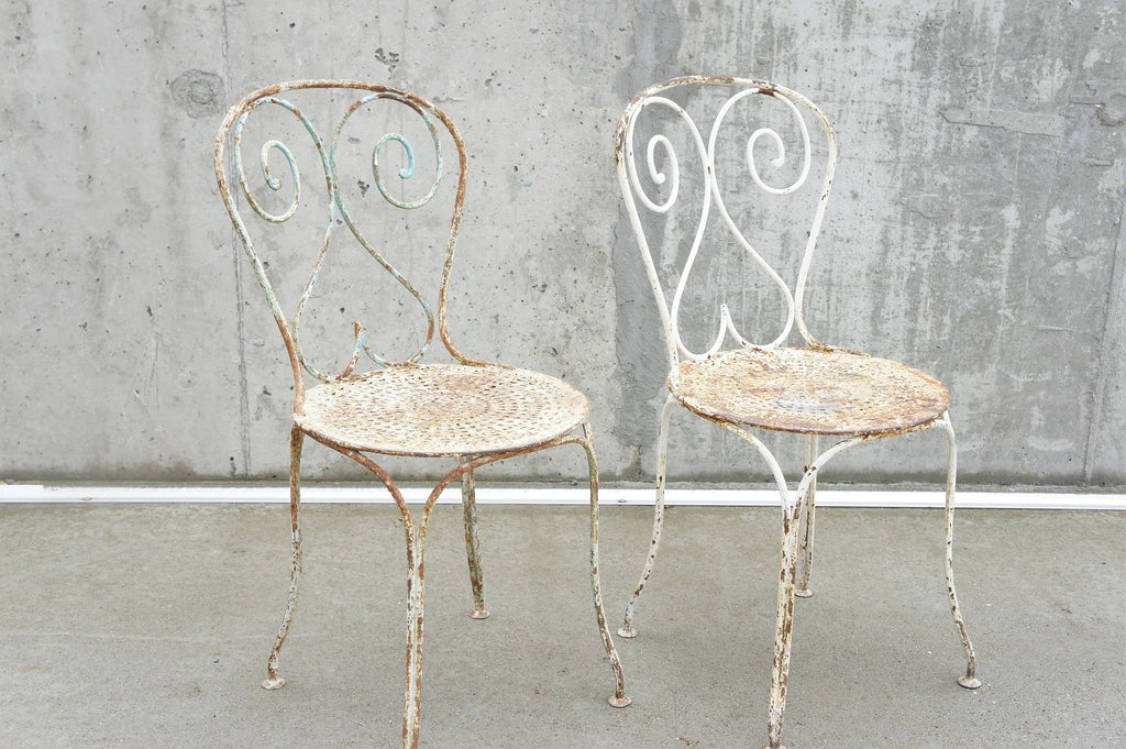 Pair of French Decorative Metal Garden Chairs