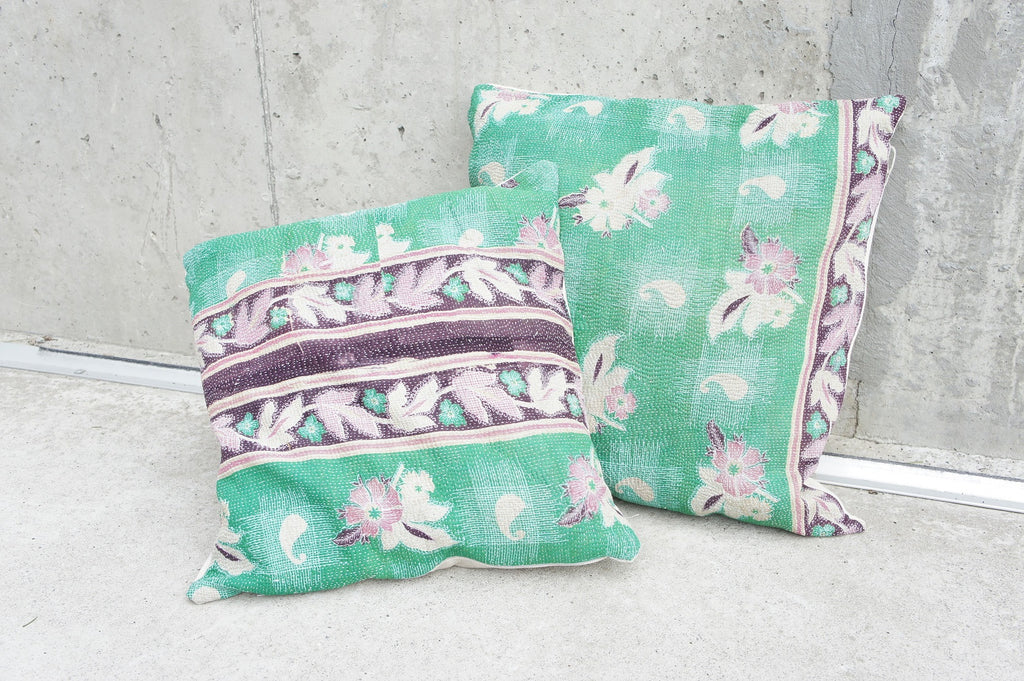 EXCLUSIVE UNIQUE Set of 2 Vintage Green, Plum and Rose Kantha Scatter Cushions