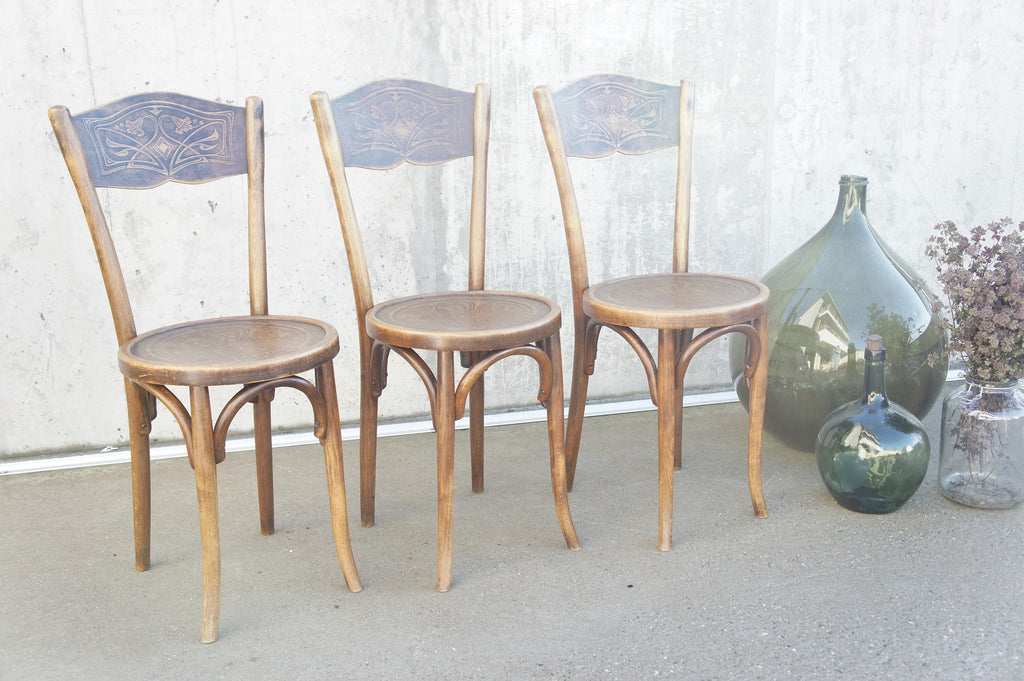 Early Baumann Set 3 Embossed Decorative Bentwood Bistro Chairs