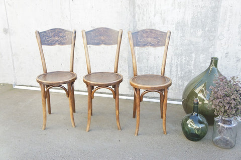 Set of 3 Embossed Decorative French Bistro Chairs Marked J&J Kohn Austria