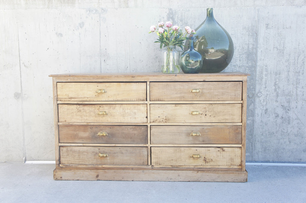 Natural Wood Spice Merchant Counter Sideboard (8) Drawers Brass Cup Handles