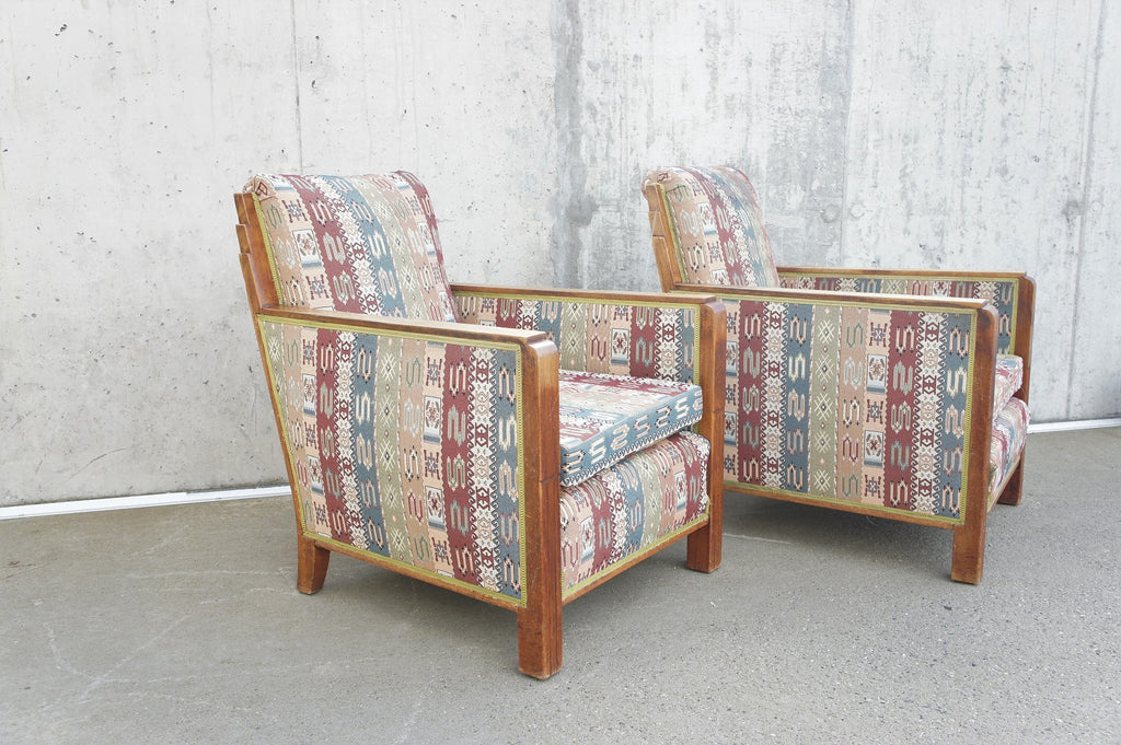 Geometric Pair of Wooden Framed Art Deco Armchairs to Reupholster