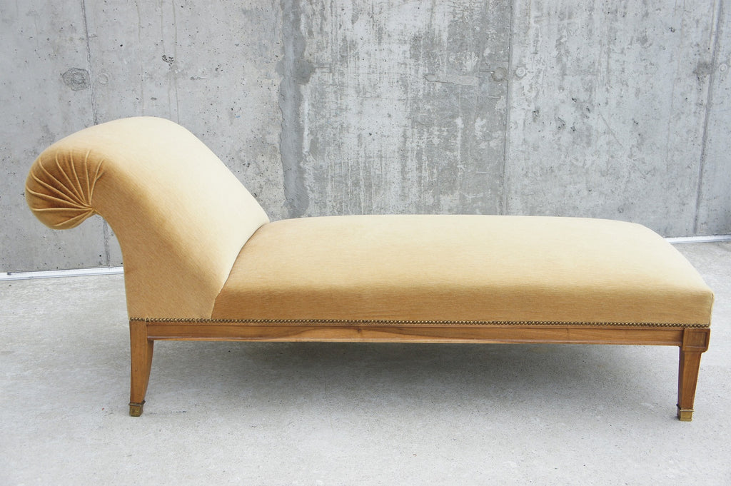 Gold Velvet Chaise Longue to Reupholster