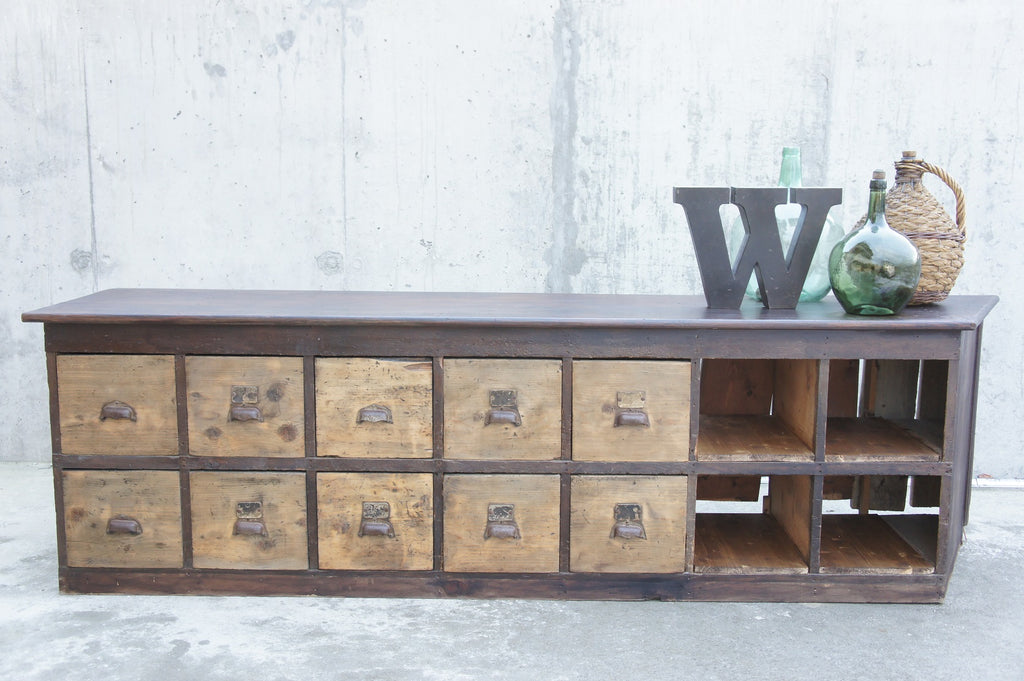 Rustic Hardware Store Counter Drawers Pigeonhole Storage