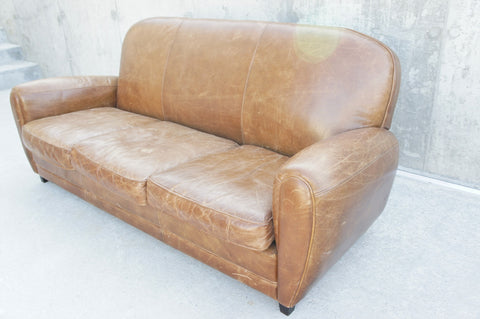 Leather Club 3 Seat Sofa